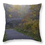 Stone Bridge In Autumn 3 Throw Pillow