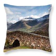 Stone Bridge In Mountain Landscape Throw Pillow