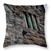 Stone Building Facade With Trefoil Window And Carved Detail Throw Pillow
