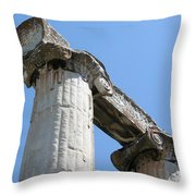 Stone Carved Columns At The Temple Of Aphrodite  Throw Pillow