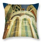 Stone Church Exterior Facade Windows At Night Throw Pillow