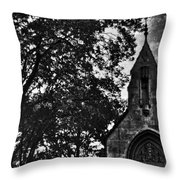 Stone Church In Black And White Throw Pillow
