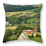 Stone Church In Green Nature Throw Pillow