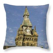 Stone Clock Tower Throw Pillow