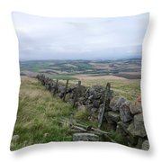 Old Dry Stacked Stone Fence Of Scotland Throw Pillow