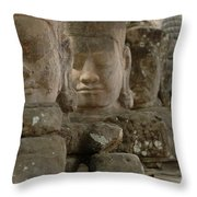 Stone Figures Cambodia Throw Pillow