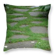 Stone Garden Walkway Throw Pillow