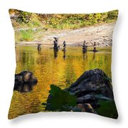 Stone Gods Of The River Throw Pillow