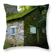 Stone House With Mossy Roof Throw Pillow