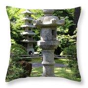 Stone Pagoda And Lantern Throw Pillow