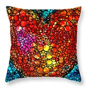 Stone Rock'd Heart - Colorful Love From Sharon Cummings Throw Pillow