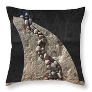 Stone Sculpture Before The Forest Throw Pillow