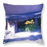 Stone Slab Bench 1 Throw Pillow