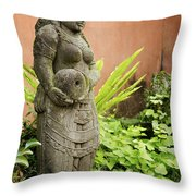 Stone Statue In Bali Indonesia  Throw Pillow