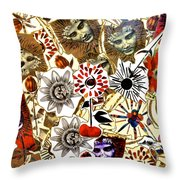 Stone Statues And Passion Flowers Throw Pillow