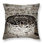 Stone Well At Old Fort Niagara Throw Pillow