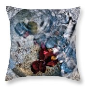 Stones And Fall Leaves Under Water-41 Throw Pillow