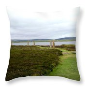 Stones In Arc Of Ring Of Brodgar Throw Pillow