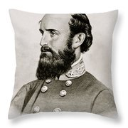 Stonewall Jackson Confederate General Portrait Throw Pillow
