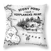 Stony Point Map, 1779 Throw Pillow by Granger