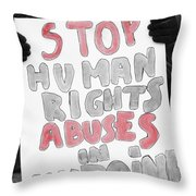 Stop Abuses  Throw Pillow