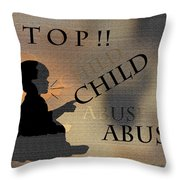 Stop Child Abuse Throw Pillow