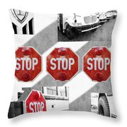Stop For Students Painterly Bw Red Signs Throw Pillow