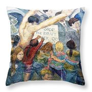 Stop The Draft Mural Berkeley Ca 1977 Throw Pillow