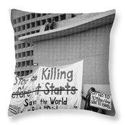 Stop The Killing Say No To Israel Anti-war Protestors Tucson Arizona 1991 Throw Pillow
