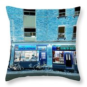 Stores On Ossington In Blue Throw Pillow