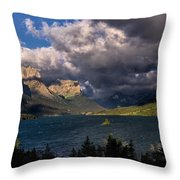 Storm Above St. Mary Lake Throw Pillow