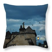 Storm Above Town Throw Pillow