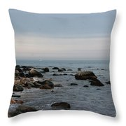 Storm At Sea In Rhode Island Throw Pillow