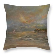 Storm At The Shore Throw Pillow