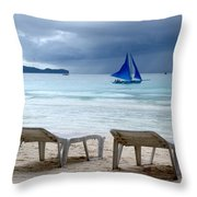 Stormy Beach - Boracay, Philippines Throw Pillow