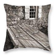 Storm Cellar And Window Throw Pillow by Mark Miller