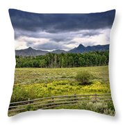 Storm Clouds Over The Rockies Throw Pillow