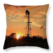 Storm Cloud's With Windmill Sillhouette Throw Pillow