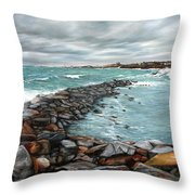 Storm In Rockport Harbor Throw Pillow