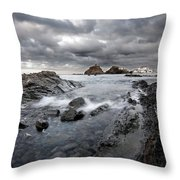 Storm Is Coming To Island Of Menorca From North Coast And Mediterranean Seems Ready To Show Power Throw Pillow