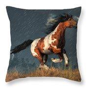 Storm Mustang Throw Pillow
