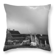 Storm On The Farm In Black And White Throw Pillow