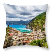 Storm Over Cinque Terre Throw Pillow