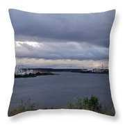 Storm Over Lake Manistee Throw Pillow