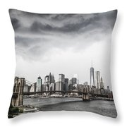 Storm Over Manhattan Throw Pillow