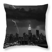 Storm Over Nyc  Throw Pillow