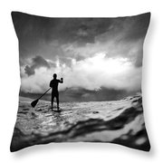 Storm Paddler Throw Pillow by Sean Davey