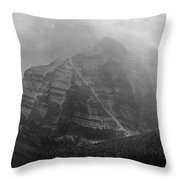 1m3556-bw-storm Raging Over Mt. Temple Throw Pillow