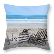 Storm Ravaged Fence  Throw Pillow