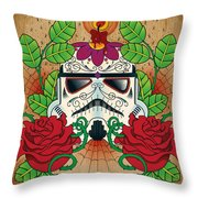 Storm Trooper Sugar Skull Throw Pillow by Samuel Whitton